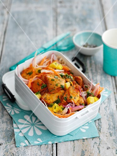 Grilled mango chicken with coleslaw