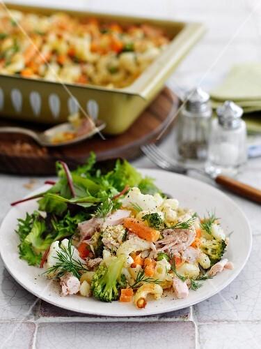 Quick vegetable and tuna fish bake