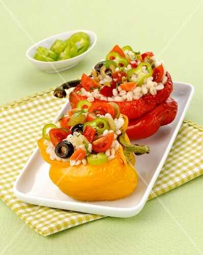 Peppers filled with rice salad