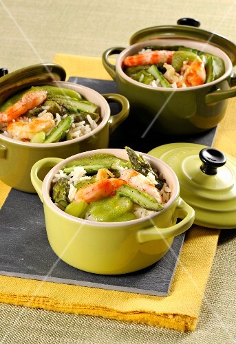 Rice and prawn cocotte