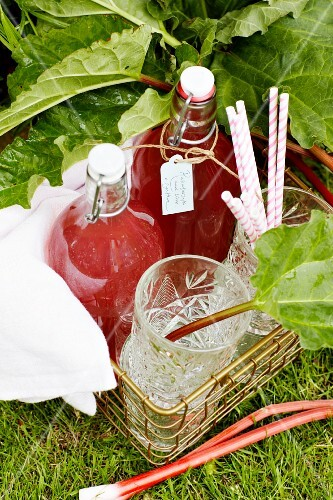 Bottles of homemade rhubarb syrup