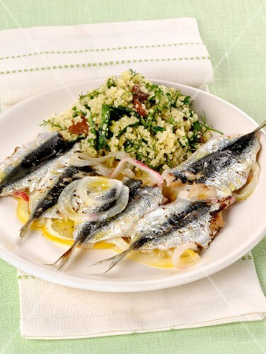 Sardine e couscous (sardines with a couscous salad, Italy)