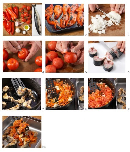 Braised mackerel on a red pepper medley being made