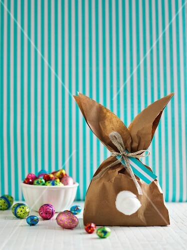 A homemade, rabbit shaped gift bag for Easter sweets