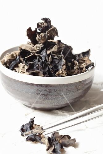 A bowl of dried mu-err mushrooms