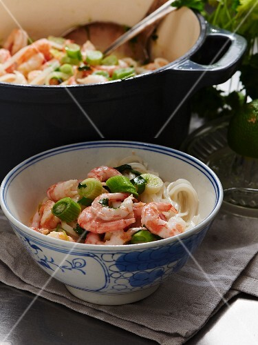 Creamy coconut stew with rice noodles, prawns and spring onions