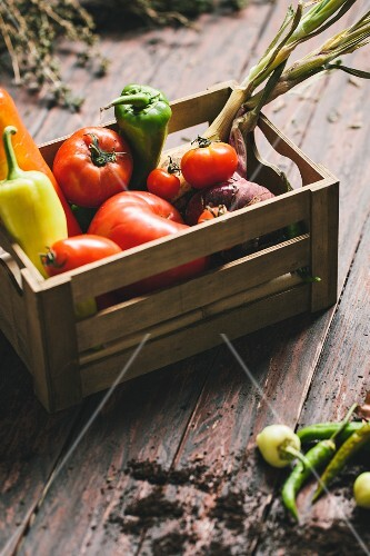 Pointed peppers, chilli peppers, tomatoes and onions in a wooden crate