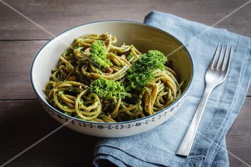 Wholemeal spelt pasta with savoy cabbage and hazelnut pesto