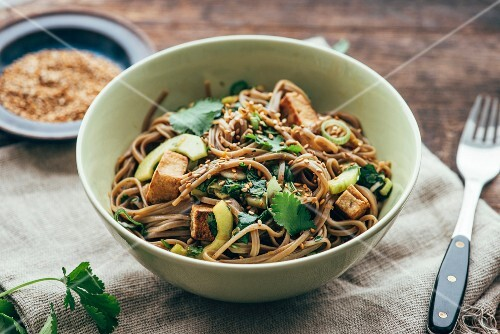 Otsu salad (soba noodle salad with tofu and coriander, Japan)