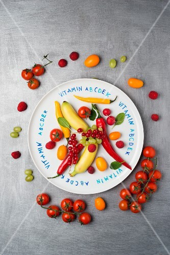 Various fruit and vegetables on a plate