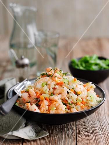 Coconut rice with prawns (Thailand)