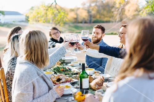 Friends raising glasses of wine outside at an autumnal decorated table