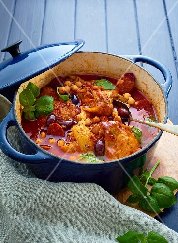Spanish chicken stew with chorizo and preserved lemons
