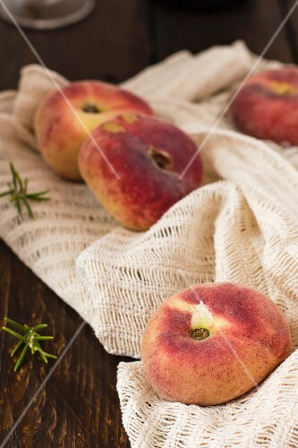 Peaches on a cloth