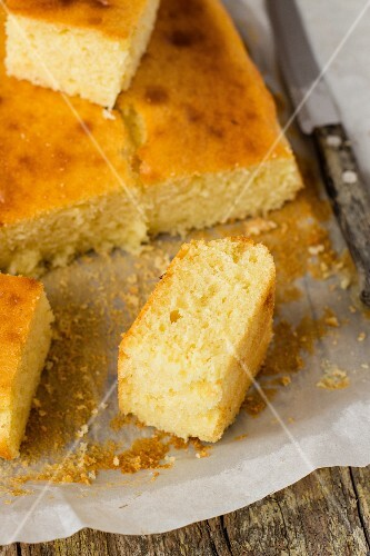 Greek yogurt cake, sliced