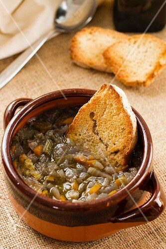 Onion soup with grilled bread