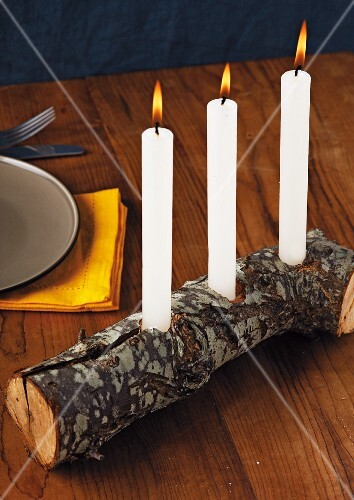 Candle holder made from log
