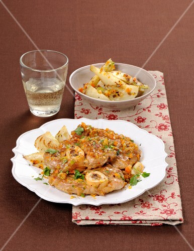 Ossobuco all'arancia (sliced veal with oranges, Italy)