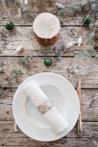Place setting on Christmas table