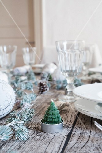 Christmas-tree tealight on Christmas dining table