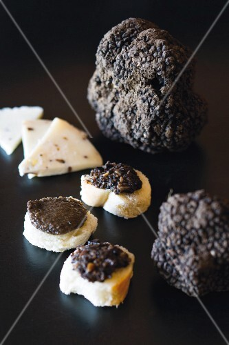 Truffles from the Buzet region, black truffles with bread and cheese, Istrian, Croatia