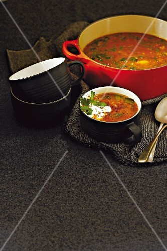 Root vegetable and lentil soup with curry