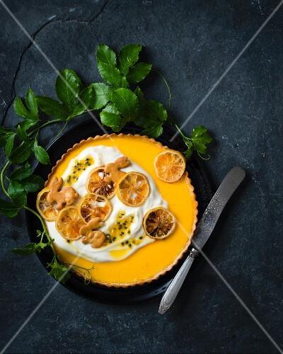 Lemon tart with yoghurt and granadilla for Easter