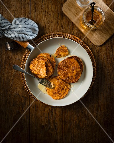 Sweet potato pancakes with maple syrup