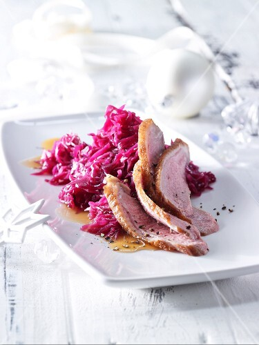 Goose breast with ginger red cabbage
