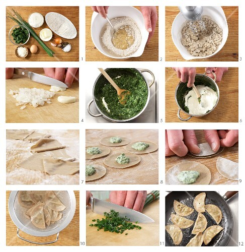 South Tyrolean ravioli with chives being made