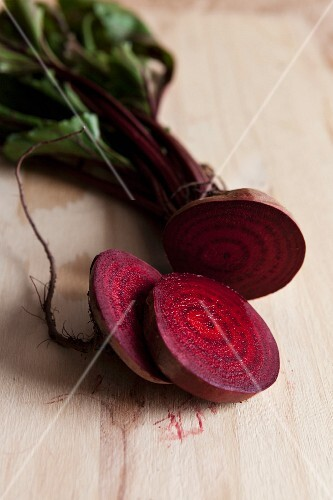 Sliced beetroot on a wooden surface