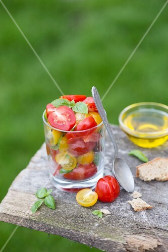 Tomato and basil salad in a glass