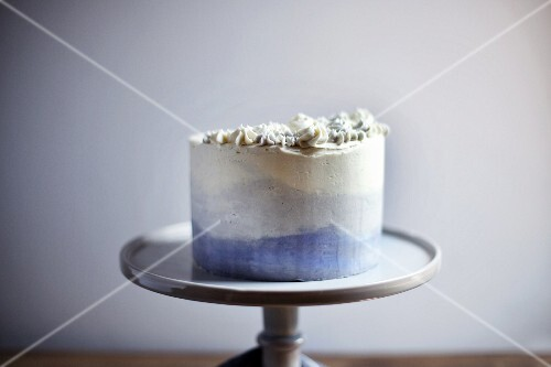 Earl Grey cake on a cake stand