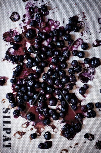 Roasted blueberries (seen from above)