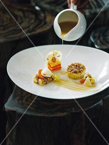 Celery baked in a salt crust, Restaurant Kai3 at the Hotel Budersand, Sylt