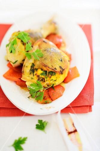 Saffron chicken with a pepper medley
