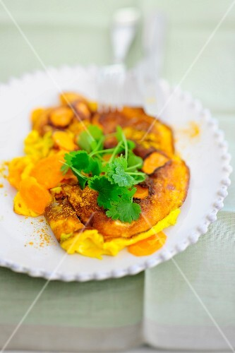 Carrot omelette with coriander