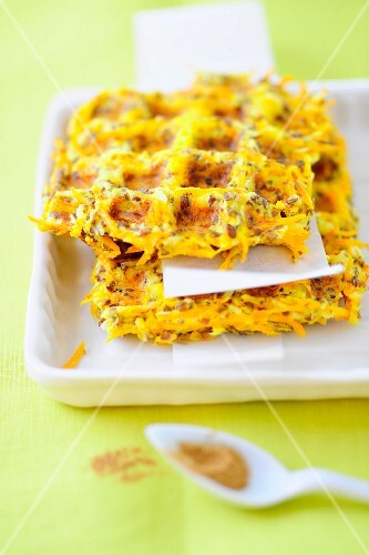 A stack of carrot waffles