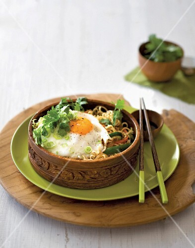 Mie noodles with vegetables and fried egg (Indonesia)