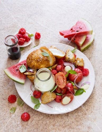 Panzanella with watermelon and breaded mozzarella