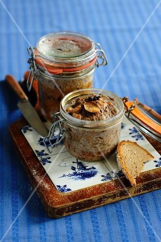 Rustic country pâté in jars