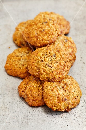 Pile of Oatmeal Cookies on a White Background