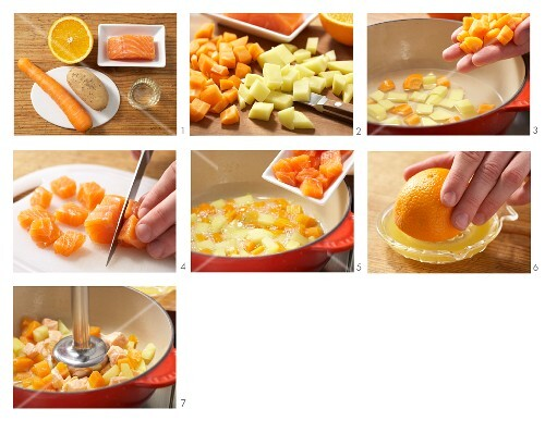 Mashed carrots with salmon and orange being made