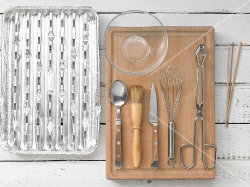 Kitchen utensils for making sausage kebabs