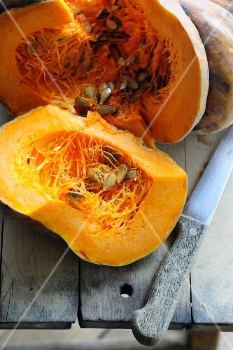 Pumpkin, cut open