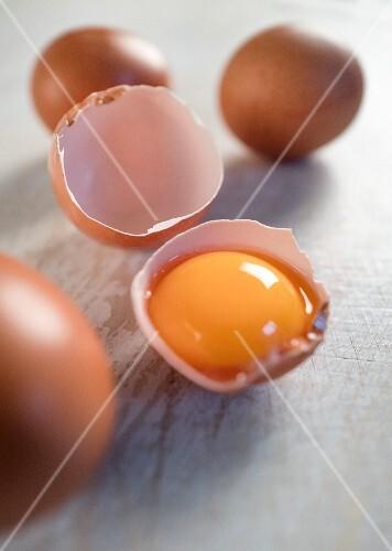 An egg yolk in an eggshell