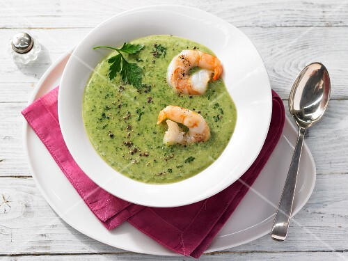 Parsley and parsnip soup with prawns