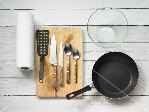 Kitchen utensils and crockery