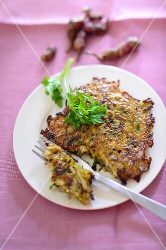 Jerusalem artichoke fritter with parsley