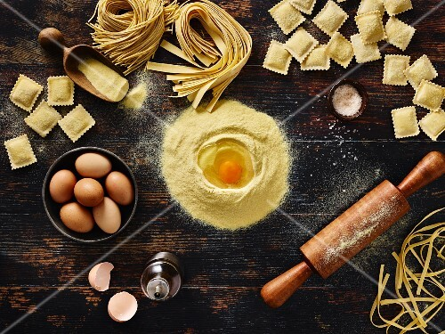 Homemade pasta and ingredients